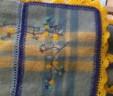 Blauw/geel woonkleed met borduursel